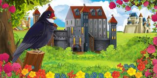 Cartoon nature scene with beautiful castles near the forest and resting cuckoo bird stock images