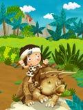 Cartoon nature scene with caveman - jungle - stone age family - with funny manga boy Stock Image