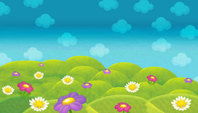 Cartoon nature scene - farm fields - empty stage for different usage. Happy and funny traditional illustration for children - scene for different usage royalty free illustration