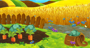 Cartoon nature scene - farm fields - empty stage for different usage Stock Photography