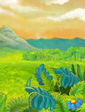 Cartoon nature scene with grass fields near the jungle - mountains in the background. Happy and funny traditional illustration for children - scene for different Royalty Free Stock Images