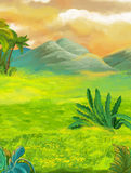 Cartoon nature scene with grass fields near the jungle - mountains in the background. Happy and funny traditional illustration for children - scene for different Stock Photo