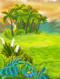 Cartoon nature scene with grass fields near the jungle - mountains in the background. Happy and funny traditional illustration for children - scene for different royalty free illustration