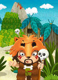 Cartoon nature scene - jungle - with funny manga boy - happy scene Royalty Free Stock Photos