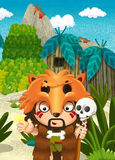 Cartoon nature scene - jungle - with funny manga boy - happy scene Stock Photo