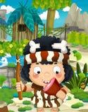 Cartoon nature scene - jungle - with funny manga boy - happy scene Royalty Free Stock Photography