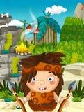 Cartoon nature scene - jungle - with funny manga boy - happy scene Stock Photos