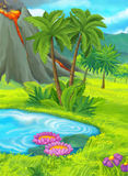Cartoon nature scene with pond near the jungle - active volcano in the background Stock Images