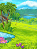 Cartoon nature scene with pond near the jungle. Happy and funny traditional illustration for children - scene for different usage vector illustration