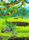 Cartoon nature scene with swamps in the jungle Stock Images
