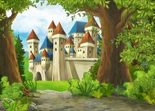 Free Cartoon Nature Scene With Beautiful Castle With Frame For Text Stock Image - 160032831