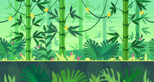 Cartoon nature seamless landscape with jungle. Seamless background for games apps or mobile development. Cartoon nature landscape with jungle. Vector