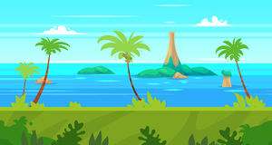 Cartoon nature seamless landscape with sea and palm Royalty Free Stock Photography