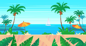 Cartoon nature seamless landscape with sea and palm Stock Photos