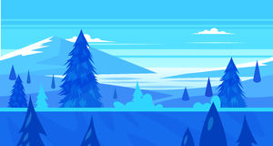 Cartoon nature seamless landscape with trees and river. Seamless background for games apps or mobile development. Cartoon nature winter landscape with river Stock Photo