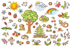 Cartoon nature set with trees, flowers, berries and small forest animals Stock Photos