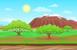 Cartoon nature spring summer landscape in sun day  Stock Photos