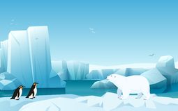 Cartoon nature winter arctic ice landscape with iceberg, snow mountains hills. White Bear and penguins. Vector game. Style illustration royalty free illustration