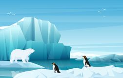 Cartoon nature winter arctic landscape with ice mountains. White Bear and penguins. Vector game style illustration. Cartoon nature winter arctic landscape with vector illustration