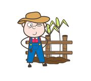 Cartoon Naughty Young Farmer in Field Vector Illustration. Design Royalty Free Stock Images