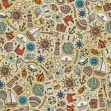 Cartoon nautical seamless pattern. Cartoon cute hand drawn nautical, marine seamless pattern. Line art vintage detailed, with lots of objects background. Endless Royalty Free Stock Photography