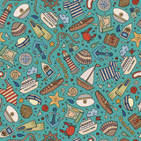 Cartoon nautical seamless pattern. Cartoon cute hand drawn nautical, marine seamless pattern. Line art vintage detailed, with lots of objects background. Endless Stock Image