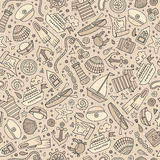 Cartoon nautical seamless pattern. Cartoon cute hand drawn nautical, marine seamless pattern. Line art vintage detailed, with lots of objects background. Endless Royalty Free Stock Photos