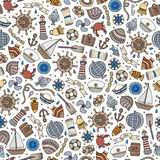 Cartoon nautical seamless pattern. Cartoon cute hand drawn nautical, marine seamless pattern. Line art vintage detailed, with lots of objects background. Endless Stock Photos