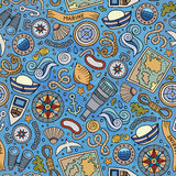 Cartoon nautical seamless pattern. Cartoon hand-drawn nautical marine seamless pattern. Colorful detailed, with lots of objects funny vector background Royalty Free Stock Images