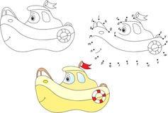 Cartoon nautilus. Vector illustration. Coloring and dot to dot g Royalty Free Stock Image