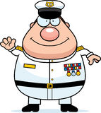 Cartoon Navy Admiral Waving Stock Photography