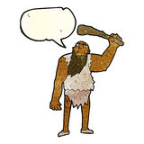 Cartoon neanderthal with speech bubble Stock Photography