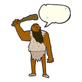 Cartoon neanderthal with speech bubble Royalty Free Stock Photography