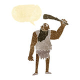 Cartoon neanderthal with speech bubble Stock Images