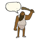 Cartoon neanderthal with speech bubble Royalty Free Stock Image