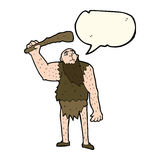 Cartoon neanderthal with speech bubble Royalty Free Stock Images