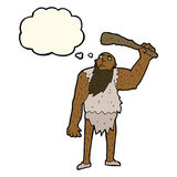 Cartoon neanderthal with thought bubble Stock Images