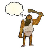 Cartoon neanderthal with thought bubble Stock Image