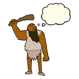 Cartoon neanderthal with thought bubble Royalty Free Stock Photography