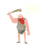 Cartoon neanderthal with thought bubble Stock Photo