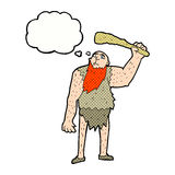 Cartoon neanderthal with thought bubble Stock Photography