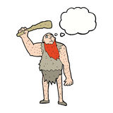 Cartoon neanderthal with thought bubble Royalty Free Stock Image