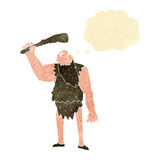 Cartoon neanderthal with thought bubble Stock Photos