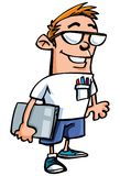 Cartoon nerd with glasses. Isolated on white Stock Photography