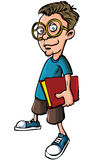 Cartoon nerd with glasses and a book. Cartoon nerd with glasses isolated on white Stock Photos