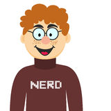 Cartoon Nerd in Glasses and Pullover. Vector Illustration of Teenager Geek Stock Images