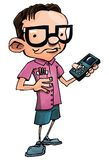 Cartoon nerd with glasses and a smartphone Stock Photography