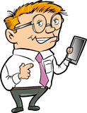 Cartoon nerd with hand held computer. Isolated Royalty Free Stock Image