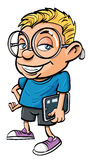 Cartoon nerd holding a tablet computer. Cartoon nerd with glasses holding a tablet computer. Isolated Royalty Free Stock Photos