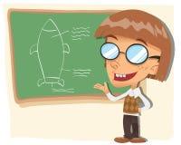 Cartoon nerd kid Stock Images